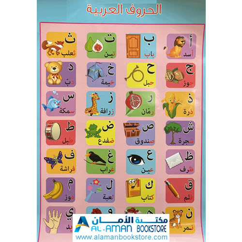 Al-Aman Bookstore - Arabic & Islamic Bookstore in USA - بوستر الحروف العربية - لوحة الحروف العربية